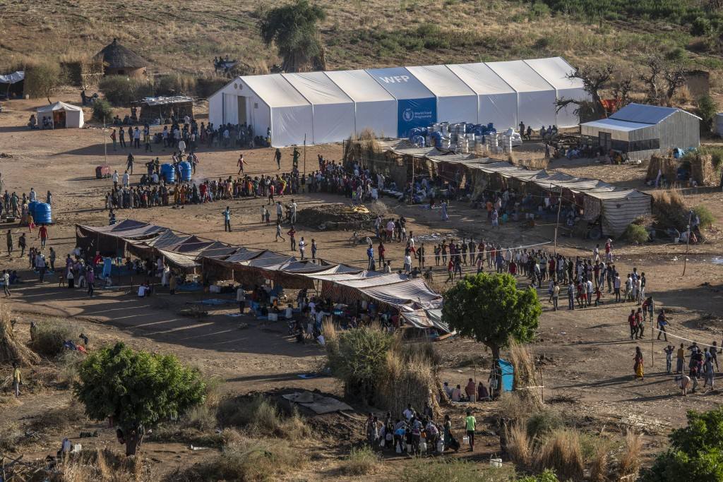 A general view of Um Rakuba refugee camp in Qadarif, eastern Sudan, Monday, Nov. 23, 2020. Ethiopia's government is again warning residents of the bes...