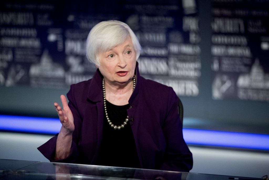 FILE - In this Aug. 14, 2019, file photo former Fed Chair Janet Yellen speaks with FOX Business Network guest anchor Jon Hilsenrath in the Fox Washing...