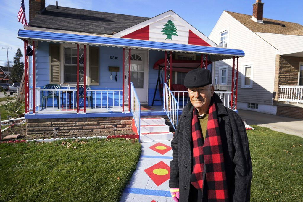 Samih Zreik stands in front of his house, Thursday, Nov. 19, 2020, in Dearborn, Mich. Zreik painted his house in tribute to Lebanon following the blas...