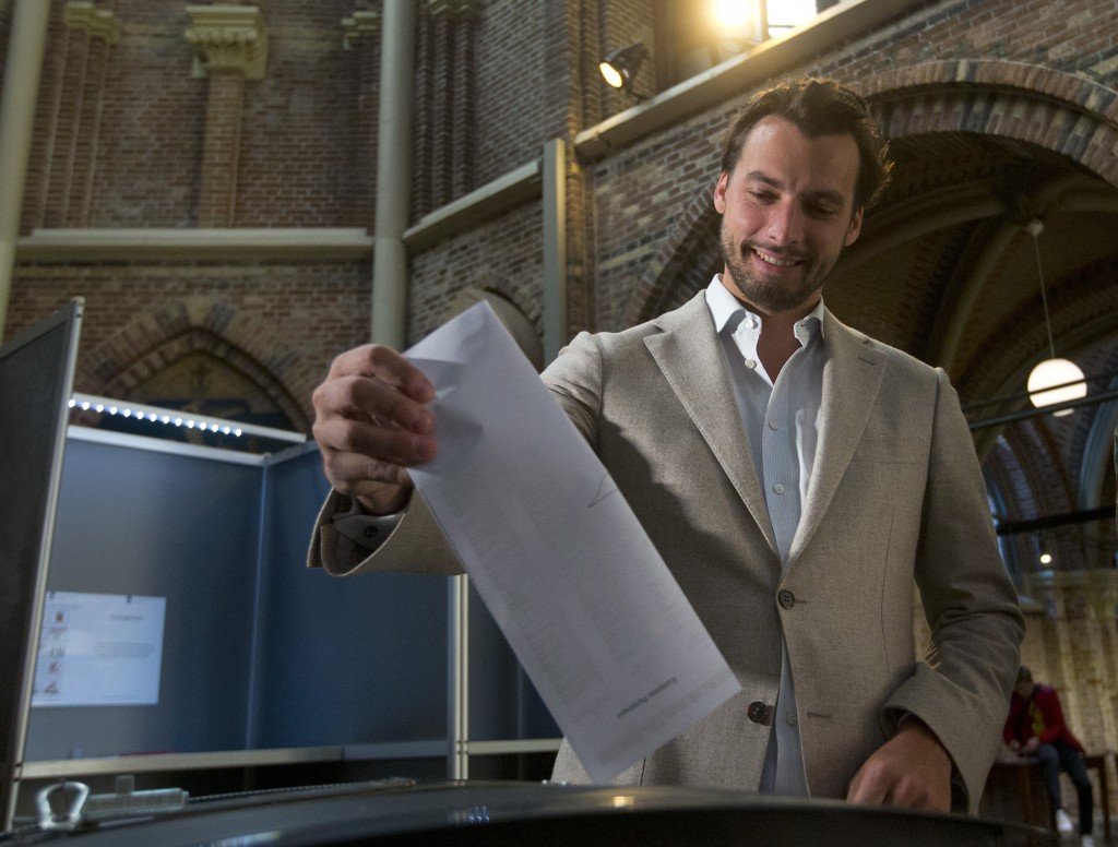 FILE - In this file photo dated  Thursday, May 23, 2019, Thierry Baudet, leader of the populist party Forum for Democracy, casts his ballot for the Eu...