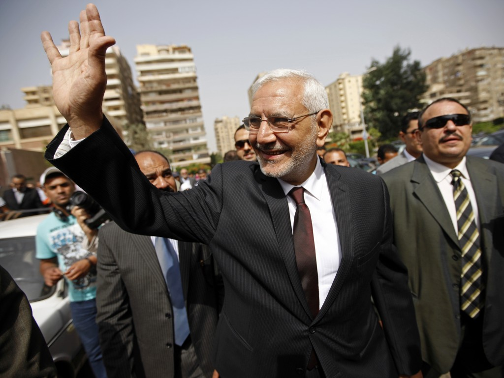 FILE - In this May 23, 2012 file photo, Egyptian presidential candidate Abdel-Monaem Abul Fetouh visits a polling station in Nasr City, Cairo, Egypt. ...