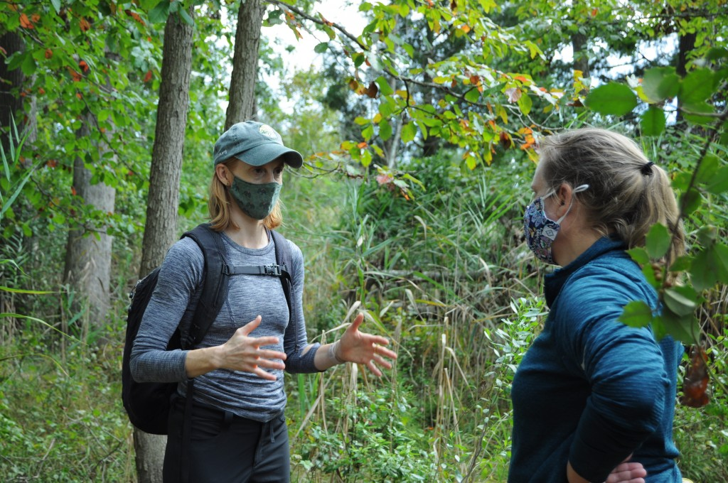In this photo provided by the University of Maryland, University of Maryland Professor Kate Tully, left, talks with University of Delaware Professor H...