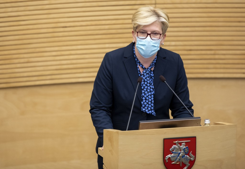 Lithuania's Homeland Union and Lithuanian Christian Democrats party leader Ingrida Simonyte speaks in parliament in Vilnius, Lithuania, Tuesday, Nov. ...