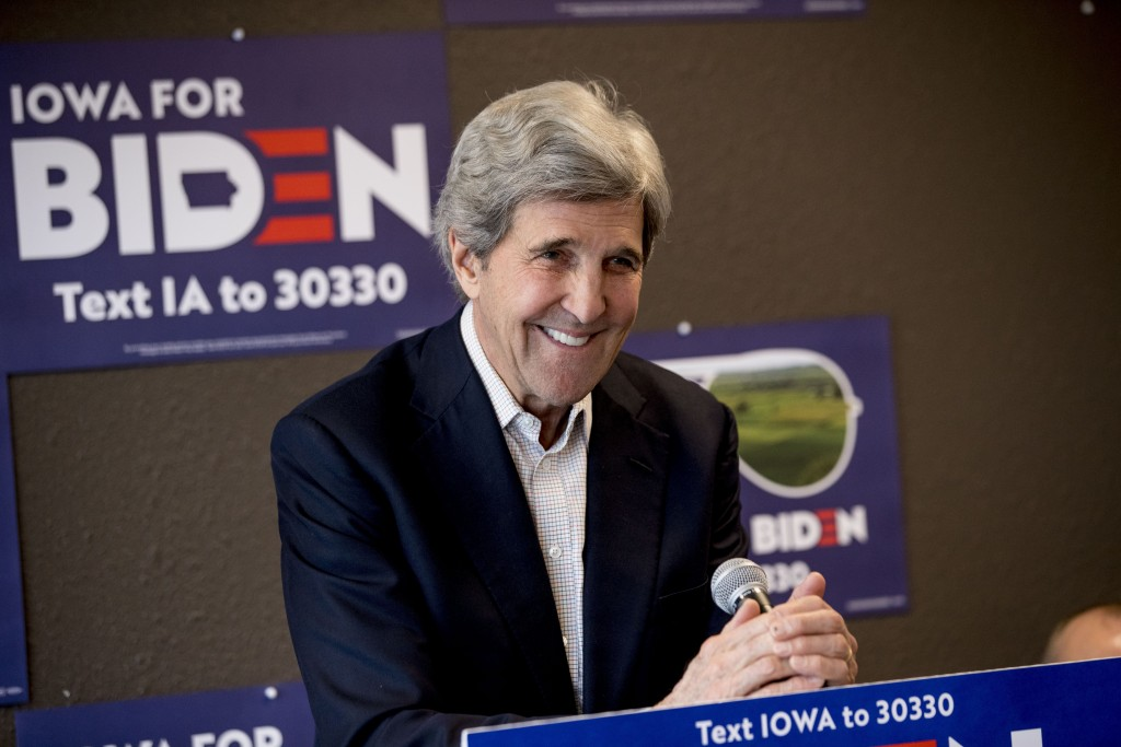 FILE - In this Jan. 9, 2020, file photo former Secretary of State John Kerry smiles while speaking at a campaign stop to support Democratic presidenti...