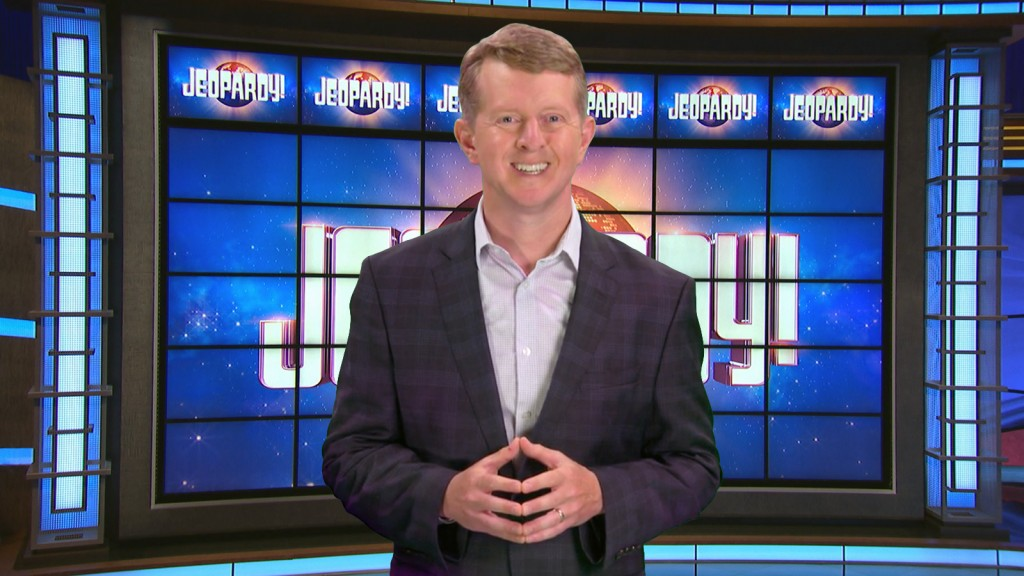 This image released by JEOPARDY! shows Ken Jennings, a 74-time champion the the set of the popular quiz show. Jennings will be the first interim guest...