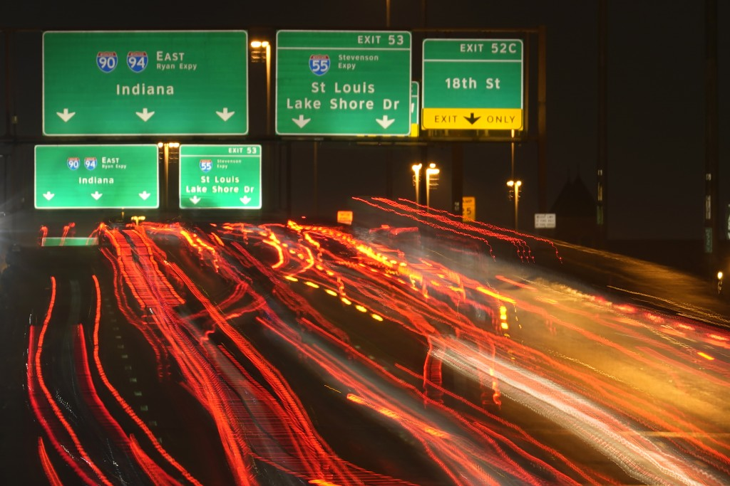 Motorists travel south Tuesday, Nov. 24, 2020, along Interstates 90 and 94 in Chicago. (AP Photo/Charles Rex Arbogast)