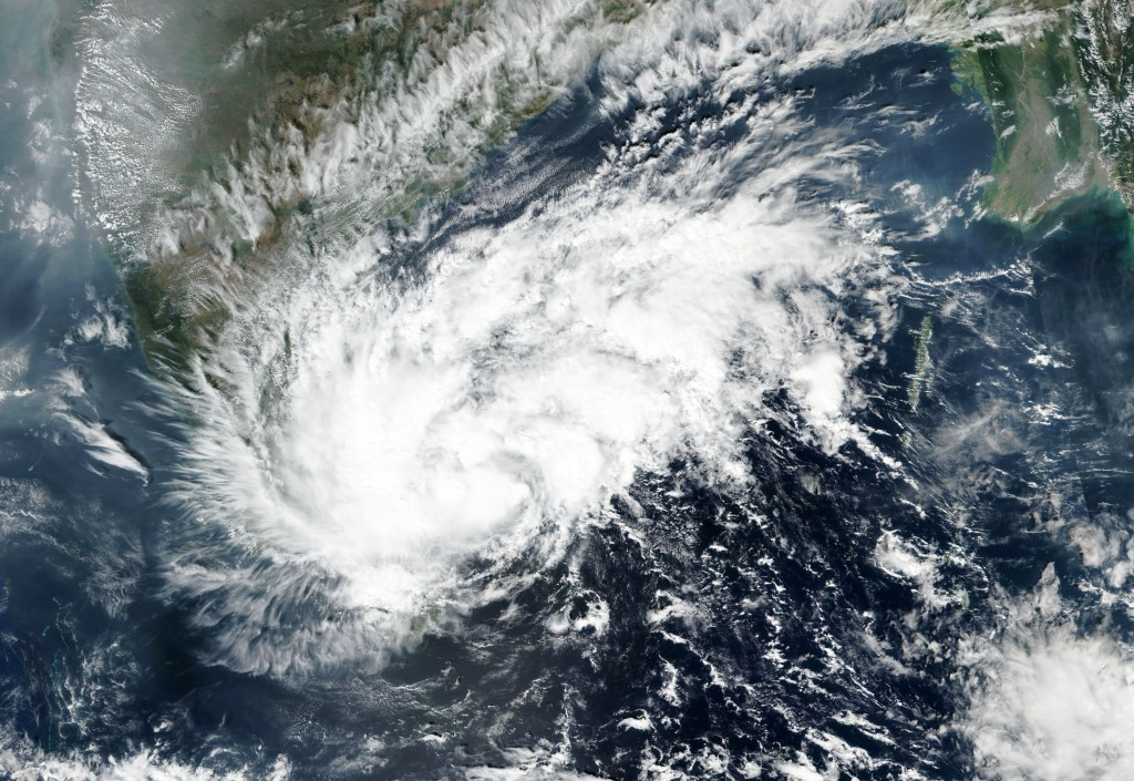This Tuesday, Nov. 24, 2020, satellite image released by NASA Worldview, Earth Observing System Data and Information System (EOSDIS) shows severe cycl...