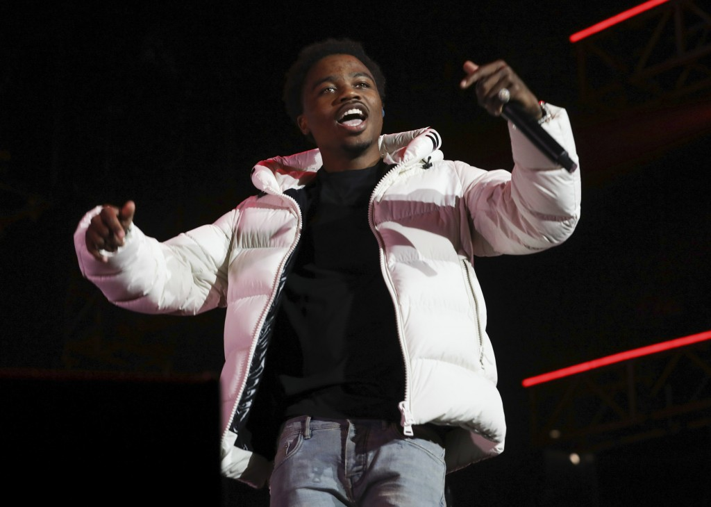 FILE - Roddy Ricch performs at the 7th annual BET Experience in Los Angeles on June 21, 2019. Ricch, Taylor Swift and Dua Lipa each earned six Grammy ...