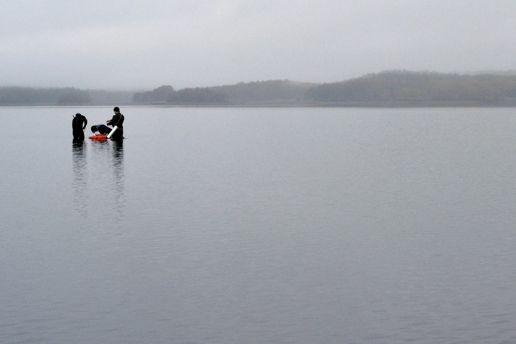 FILE - In this Oct. 29, 2019, file photo, University of New Hampshire scientists monitor the health of seagrass in the Great Bay in Durham, N.H. Feder...