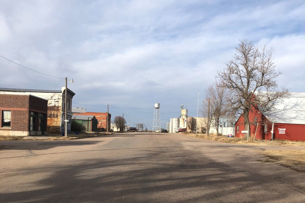 This photo provided by Carolyn Plotts shows Norcatur, Kan., on Nov. 18, 2020. It's barely a town battered by time on the windswept prairie of northwes...