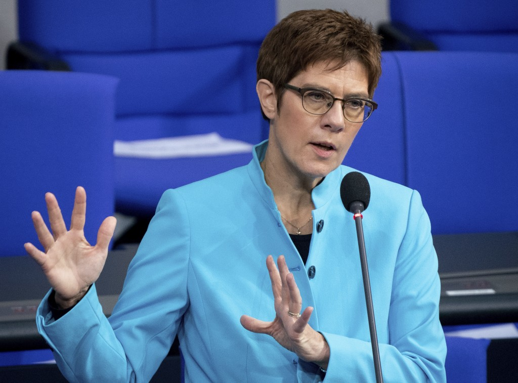 German Defence Minister Annegret Kramp-Karrenbauer speaks during a questioning of the Federal Government as part of a meeting of the German federal pa...