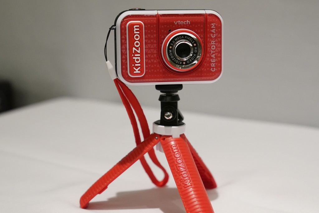A KidiZoom Creator Cam by VTech is displayed at the Toy Fair, Thursday, Sept. 17, 2020, in New York. The digital camera comes with a green screen and ...