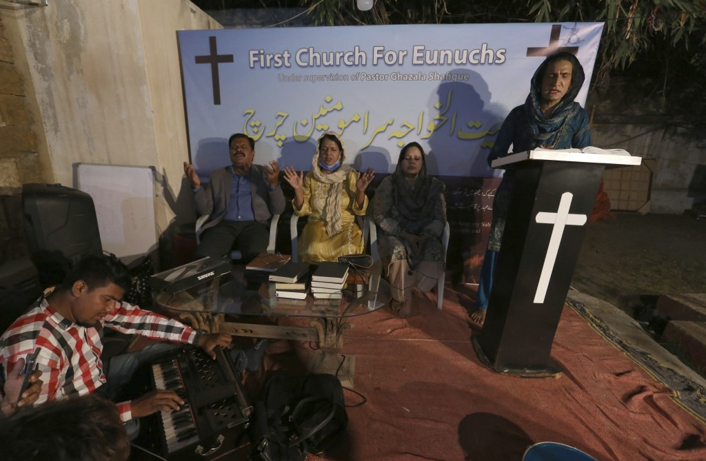 Nisara Gill, right, leads a prayer service at Pakistan's first church for transgender worshippers, in Karachi, Pakistan, Friday, Nov. 13, 2020. Transg...