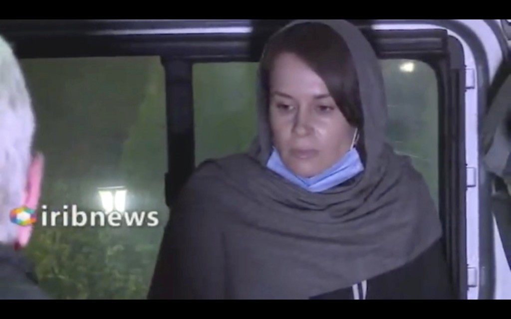 In this frame grab from Iranian state television video aired Wednesday, Nov. 25, 2020, British-Australian academic Kylie Moore-Gilbert, is seen in Teh...