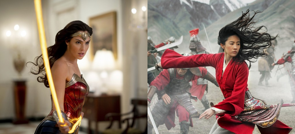 """This combination photo shows Gal Gadot in a scene from the Warner Bros. Pictures film """"Wonder Woman 1984,"""" left, and  Yifei Liu in a scene from Disney..."""