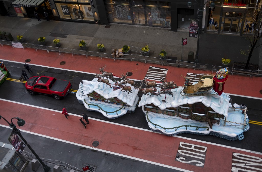 The Santa Claus float that is part of the modified Macy's Thanksgiving Day Parade is seen from the Empire State Building in New York, Thursday, Nov. 2...
