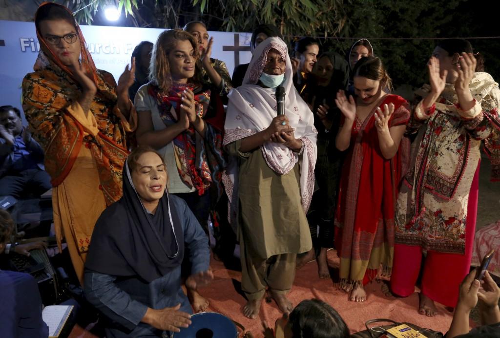 Transgender people attend a prayer service at Pakistan's first church for transgender worshippers, in Karachi, Pakistan, Friday, Nov. 13, 2020. Transg...