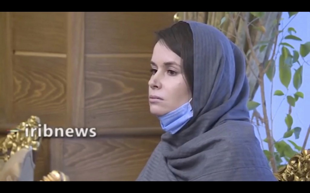 In this frame grab from Iranian state television video aired Wednesday, Nov. 25, 2020, British-Australian academic Kylie Moore-Gilbert is seen in Tehr...