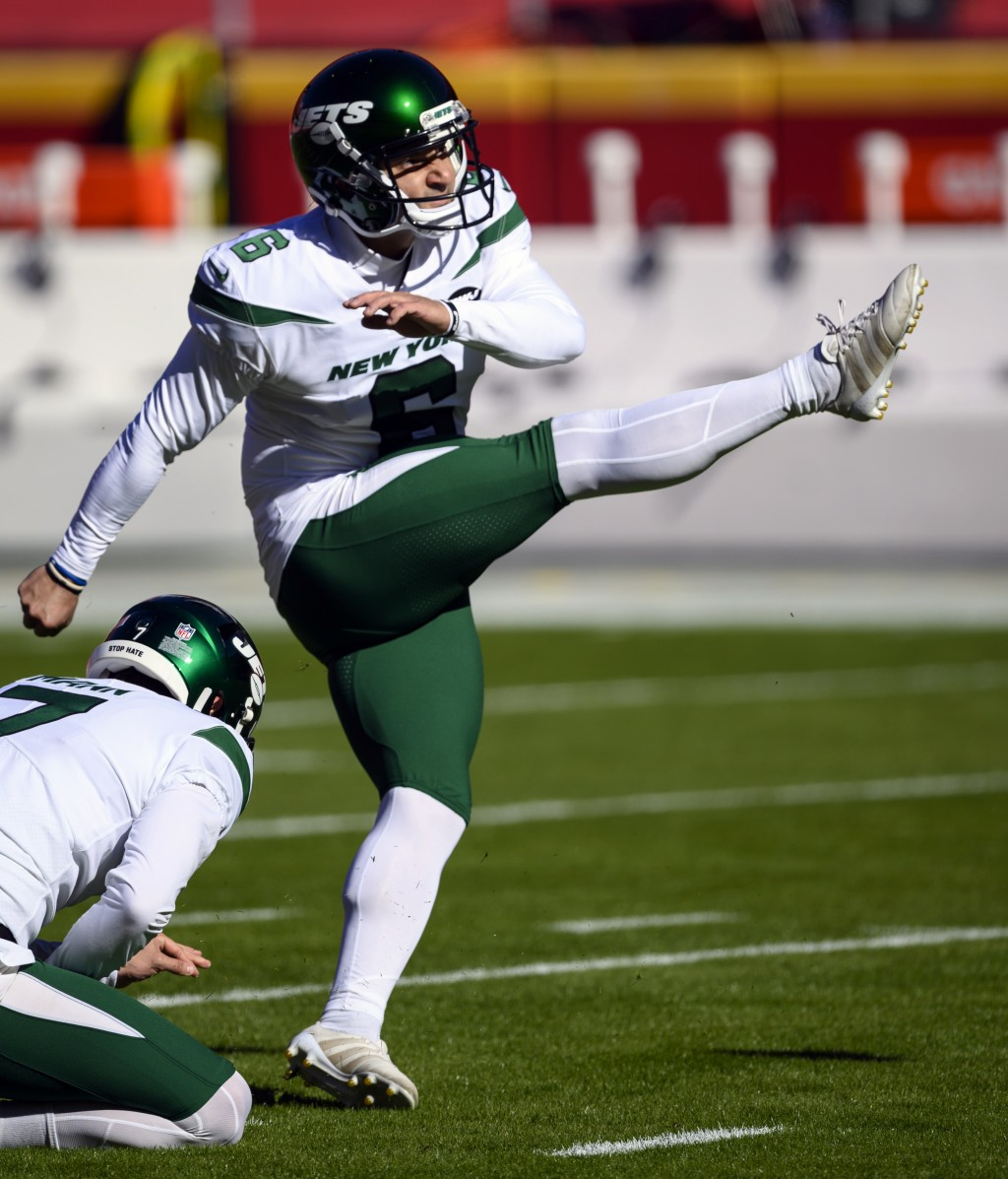 FILE - In this Nov. 1, 2020, file photo, New York Jets kicker Sergio Castillo (6) warms up before an NFL football game against the Kansas City Chiefs ...
