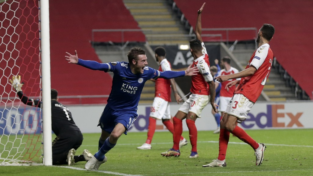 Leicester's Jamie Vardy celebrates after scoring his side's third goal during the Europa League group G soccer match between SC Braga and Leicester Ci...
