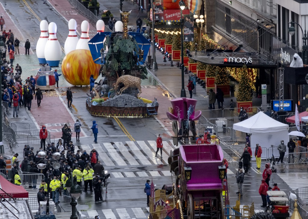 Floats that are part of the modified Macy's Thanksgiving Day Parade are seen from the Empire State Building in New York, Thursday, Nov. 26, 2020. Due ...