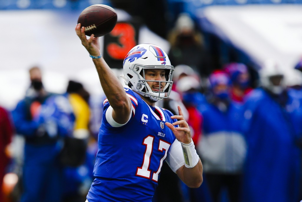 FILE - In this Nov. 1, 2020, file photo, Buffalo Bills quarterback Josh Allen (17) throws a pass during the first half of an NFL football game against...
