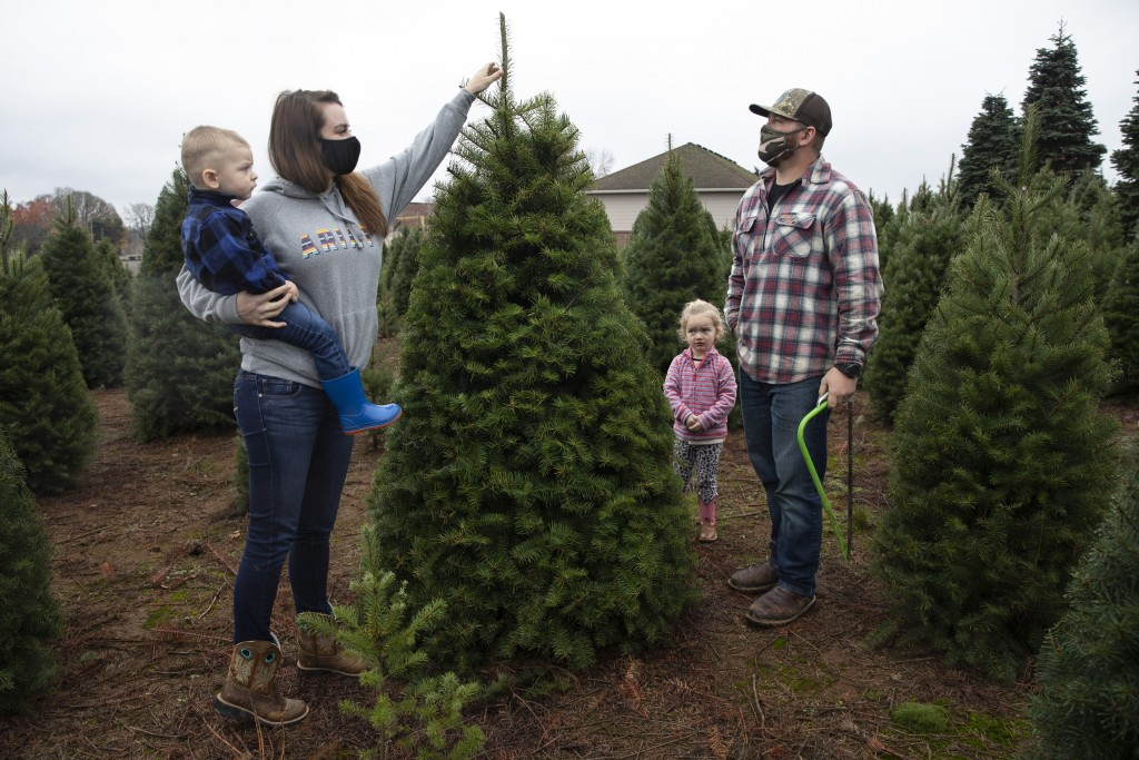 Josh and Jessica Ferrara shop for Christmas trees with son Jayce, 1 year and Jade, 3 years, at Sunnyview Christmas Tree farm on Saturday, Nov.  21, 20...