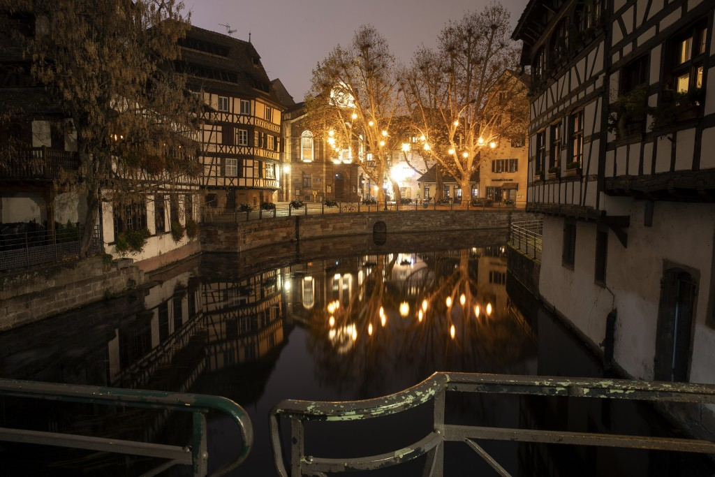 Christmas lightings are pictured where the Christmas market usually takes place, Friday, Nov.27, 2020 in Strasbourg, eastern France. Due to the COVID-...