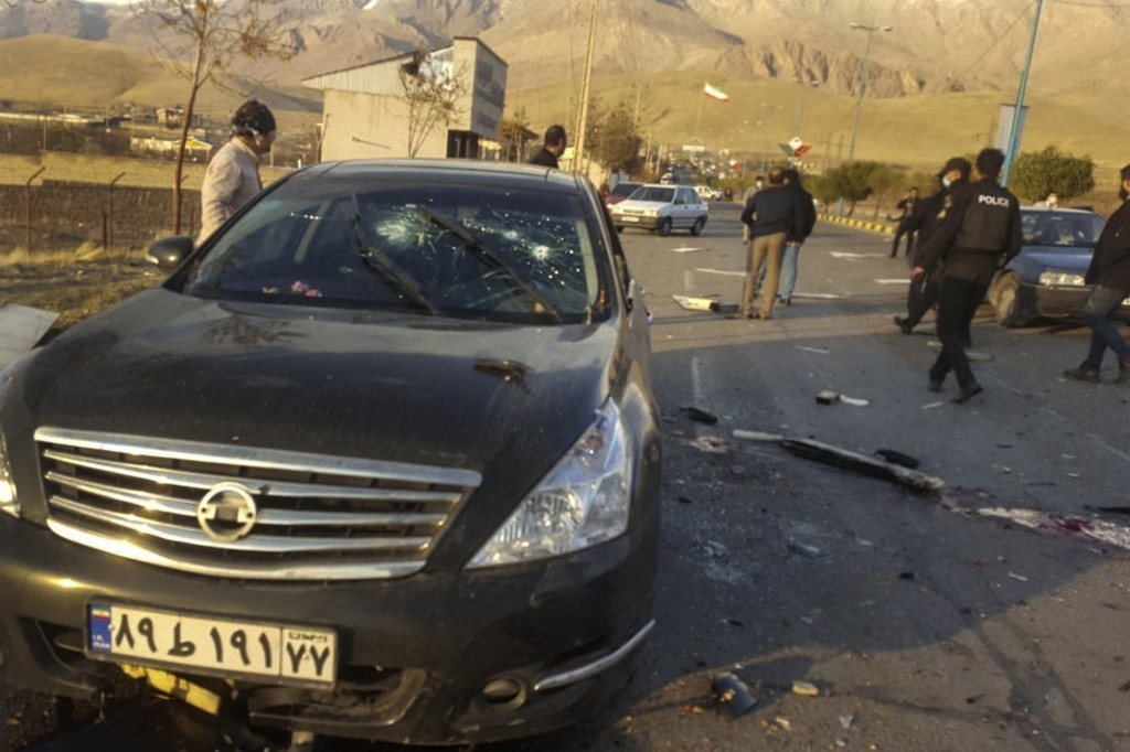 This photo released by the semi-official Fars News Agency shows the scene where Mohsen Fakhrizadeh was killed in Absard, a small city just east of the...