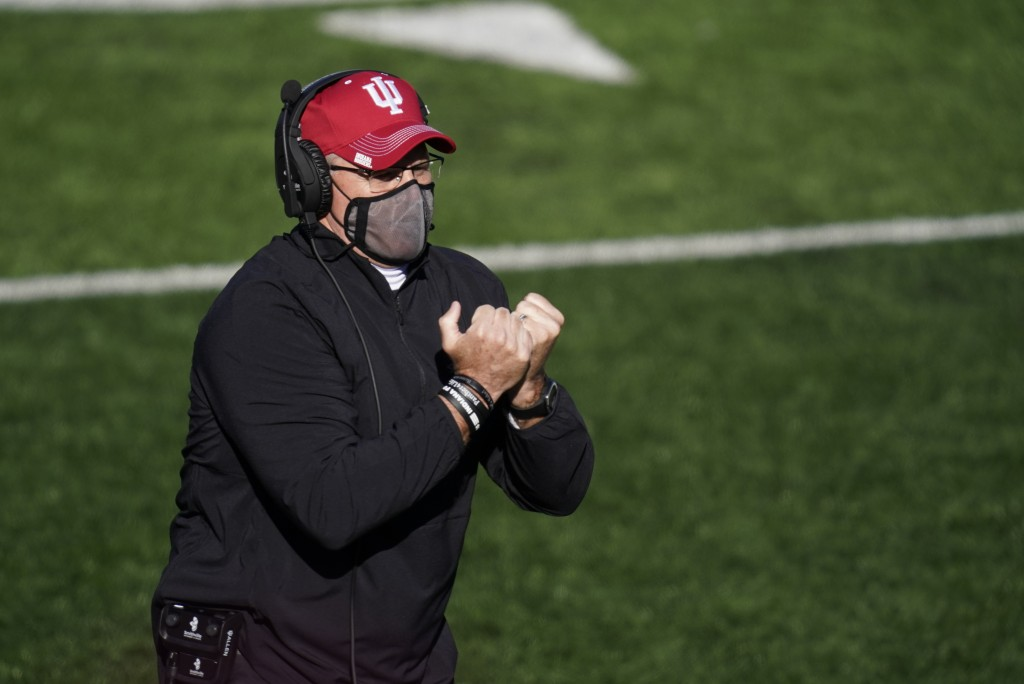 Indiana head coach Tom Allen watches during the second half of an NCAA college football game against Maryland, Saturday, Nov. 28, 2020, in Bloomington...