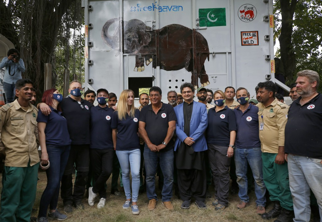 Pakistani wildlife workers, officials and experts from the international animal welfare organization Four Paws, pose for photograph next to a crate ho...
