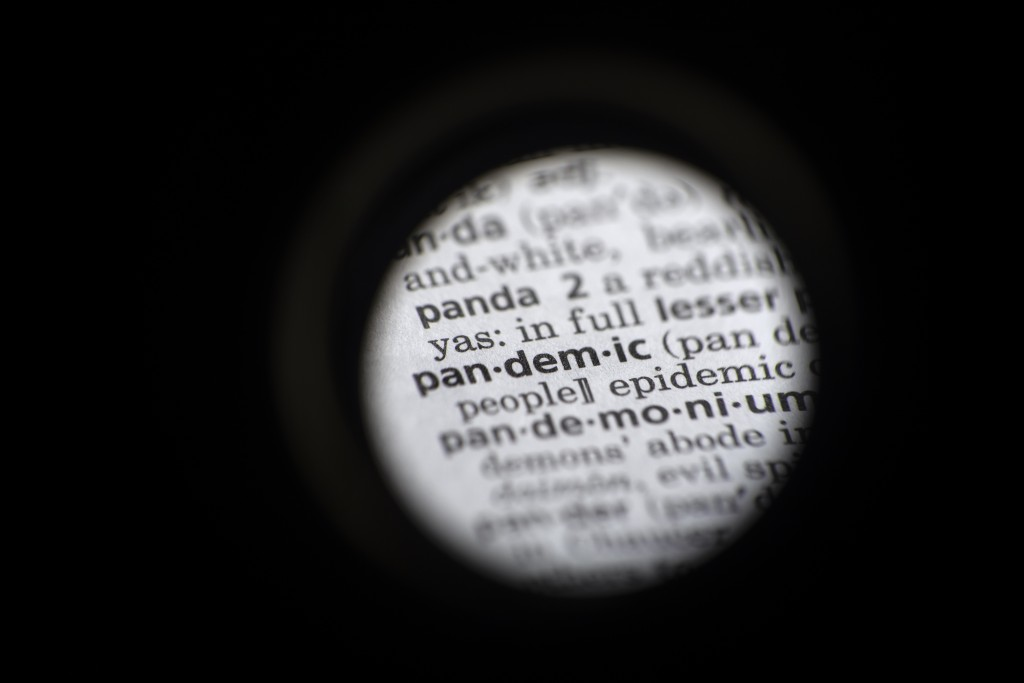 """In this Saturday, Nov. 21, 2020, photo taken through a camera lens the word """"pandemic"""" in seen in a dictionary in Washington. Dictionary.com declared ..."""