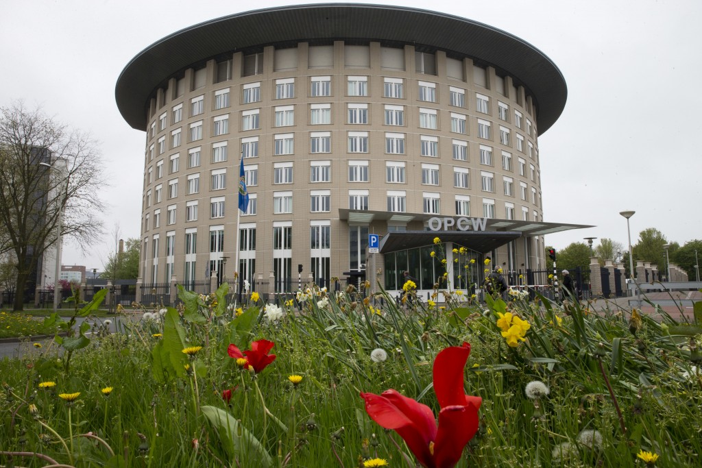 -FILE- In this Friday, April 21, 2017, image the headquarters of the Organisation for the Prohibition of Chemical Weapons, OPCW, are seen in The Hague...