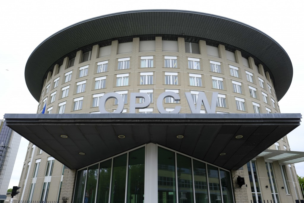 FILE - This Friday May 5, 2017 file photo shows the headquarters of the Organisation for the Prohibition of Chemical Weapons (OPCW), The Hague, Nether...