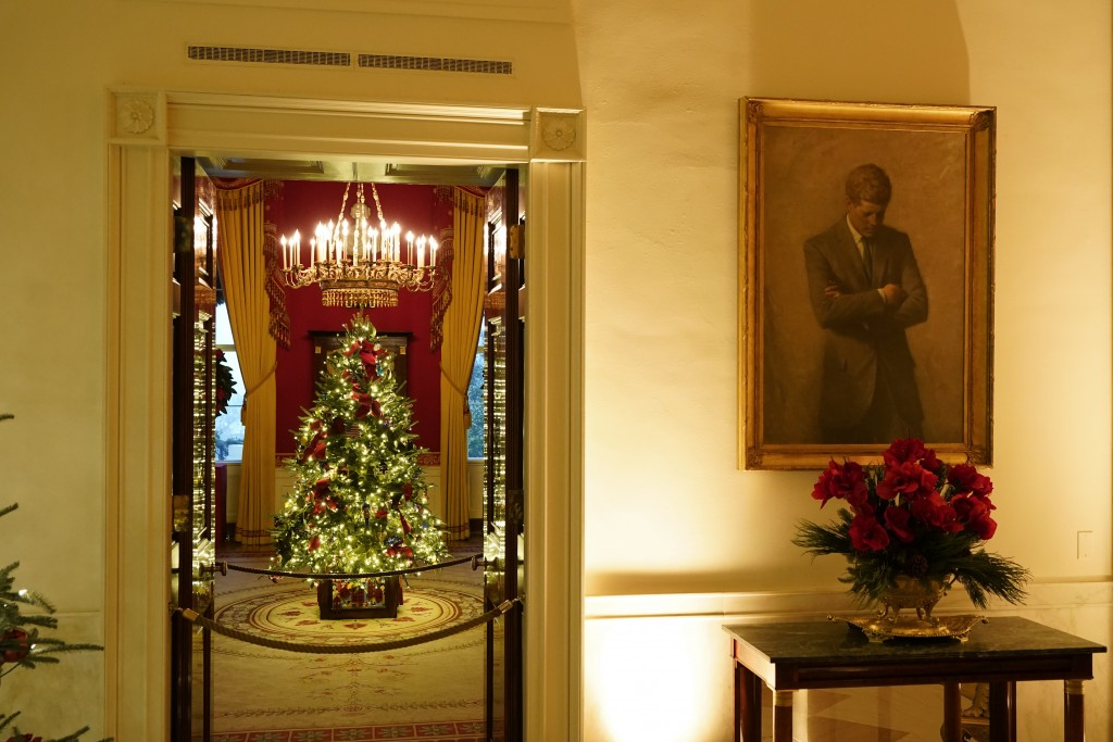 The Red Room of the White House is decorated during the 2020 Christmas preview, Monday, Nov. 30, 2020, in Washington. (AP Photo/Patrick Semansky)