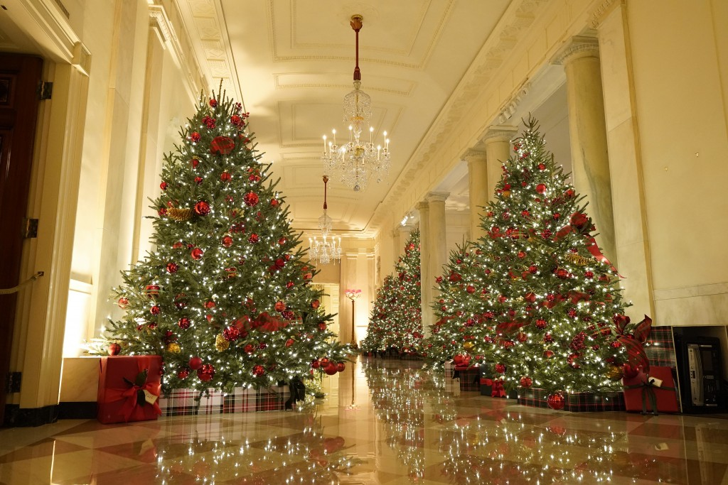 The Cross Hall leading to the State Dining Room of the White House is decorated during the 2020 Christmas preview, Monday, Nov. 30, 2020, in Washingto...
