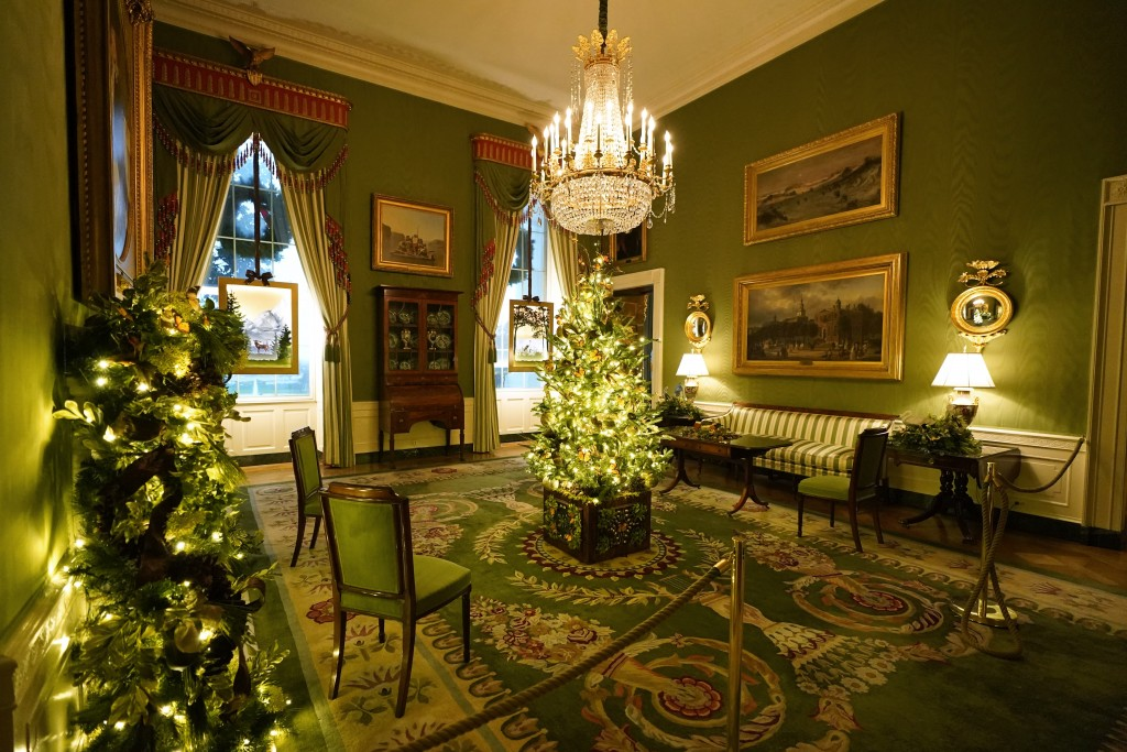 The Green Room of the White House is decorated during the 2020 Christmas preview, Monday, Nov. 30, 2020, in Washington. (AP Photo/Patrick Semansky)