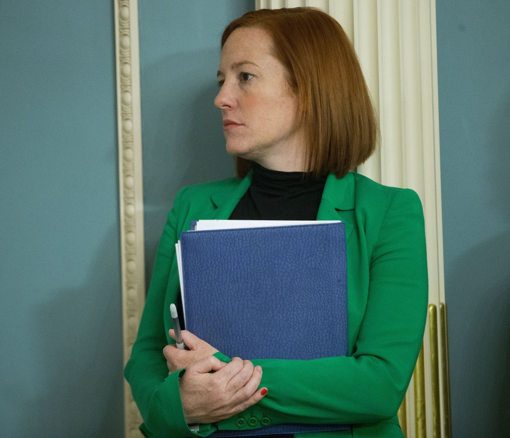 State Department spokeswoman Jen Psaki stands in on a meeting in Washington, Friday, Feb. 27, 2015. President-elect Joe Biden will have an all-female ...