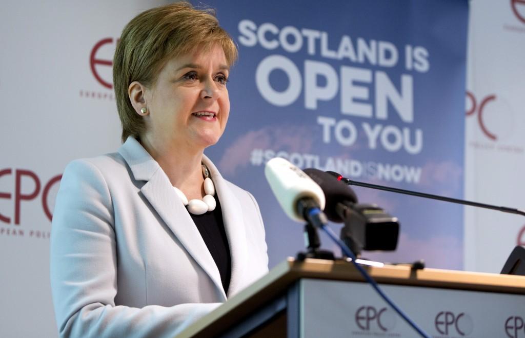 FILE - In this Tuesday, June 11, 2019 file photo, Scotland's First Minister Nicola Sturgeon speaks during an event in Brussels. Scotland's pro-indepen...
