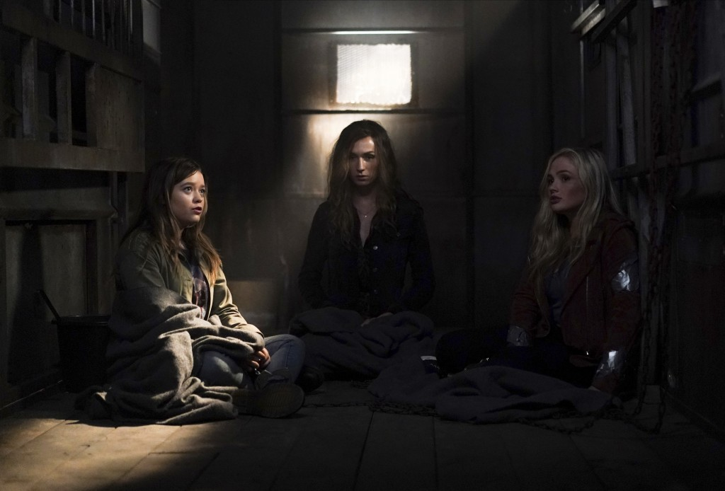 """This image released by ABC shows  Jade Pettyjohn, from left, Jesse James Keitel and Natalie Alyn Lind in a scene from """"Big Sky."""" Native American tribe..."""