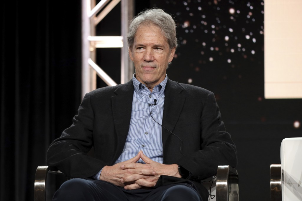 """FILE - David E. Kelley speaks at the """"The Undoing"""" panel during the HBO TCA 2020 Winter Press Tour in Pasadena, Calif. on Jan. 15, 2020. Native Americ..."""