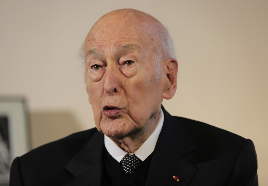 FILE - In this Jan. 30, 2020 file photo, former French President Valery Giscard d'Estaing gestures as he speaks during an interview of the Associated ...