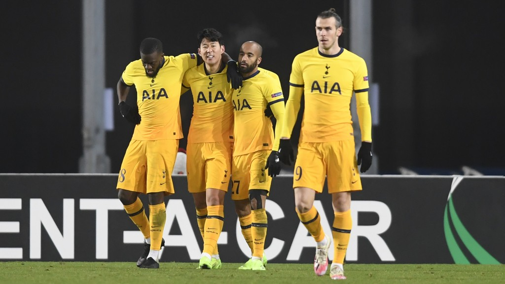 Tottenham's Son Heung-min celebrates after scoring his side's second goal during the Europa League Group J soccer match between Linzer ASK and Tottenh...