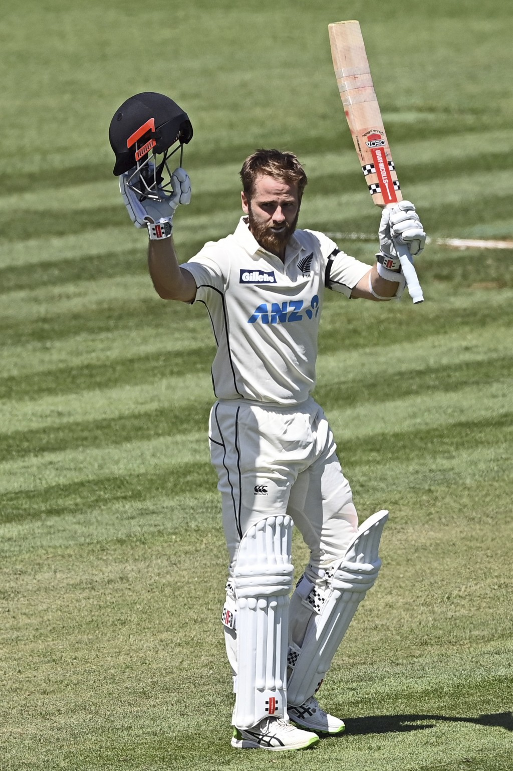 New Zealand's Kane Williamson celebrates his double century during play on day two of the first cricket test between the West Indies and New Zealand i...