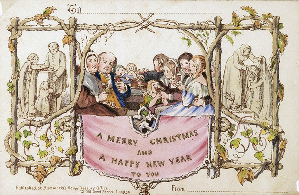 This 2017 photo provided Thursday, Dec. 3, 2020, by Battledore Ltd., of Kingston, N.Y., shows the first commercially produced Christmas card dated Dec...