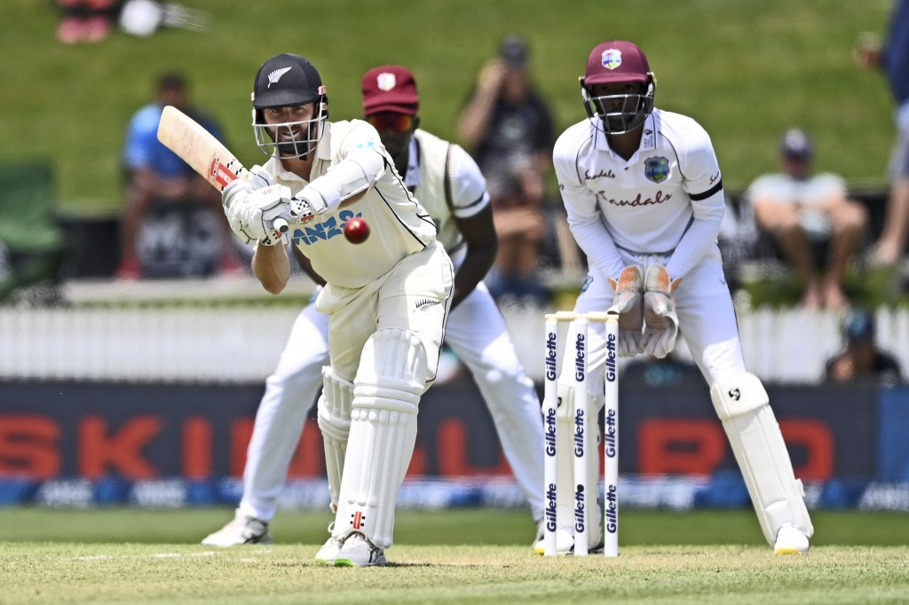 New Zealand's Kane Williamson bats during play on day two of the first cricket test between the West Indies and New Zealand in Hamilton, New Zealand, ...
