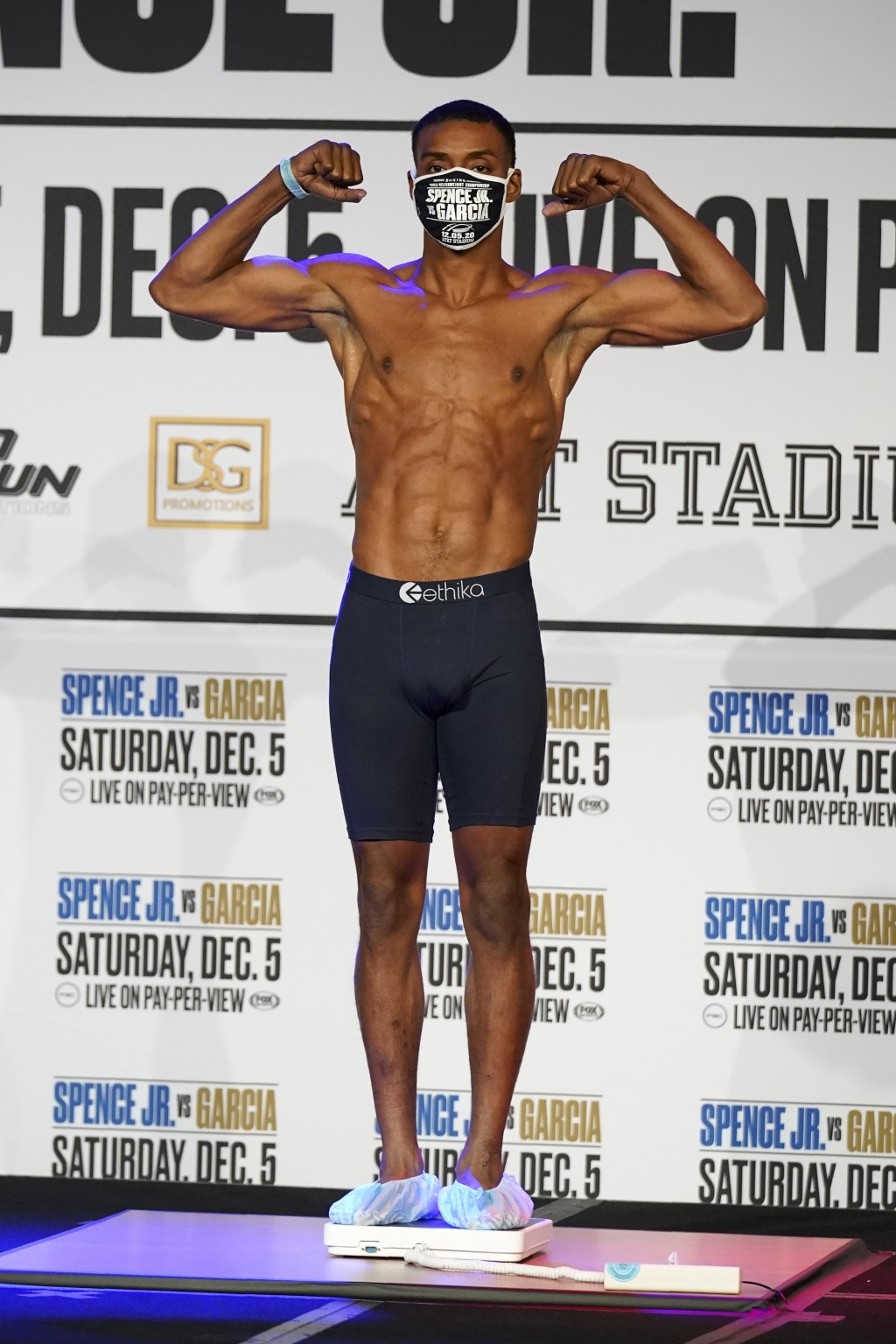 Boxer Errol Spence Jr., poses as he weighs in for a title match against Danny Garcia in Dallas, Friday, Dec. 4, 2020. Spence Jr. is putting his WBC an...