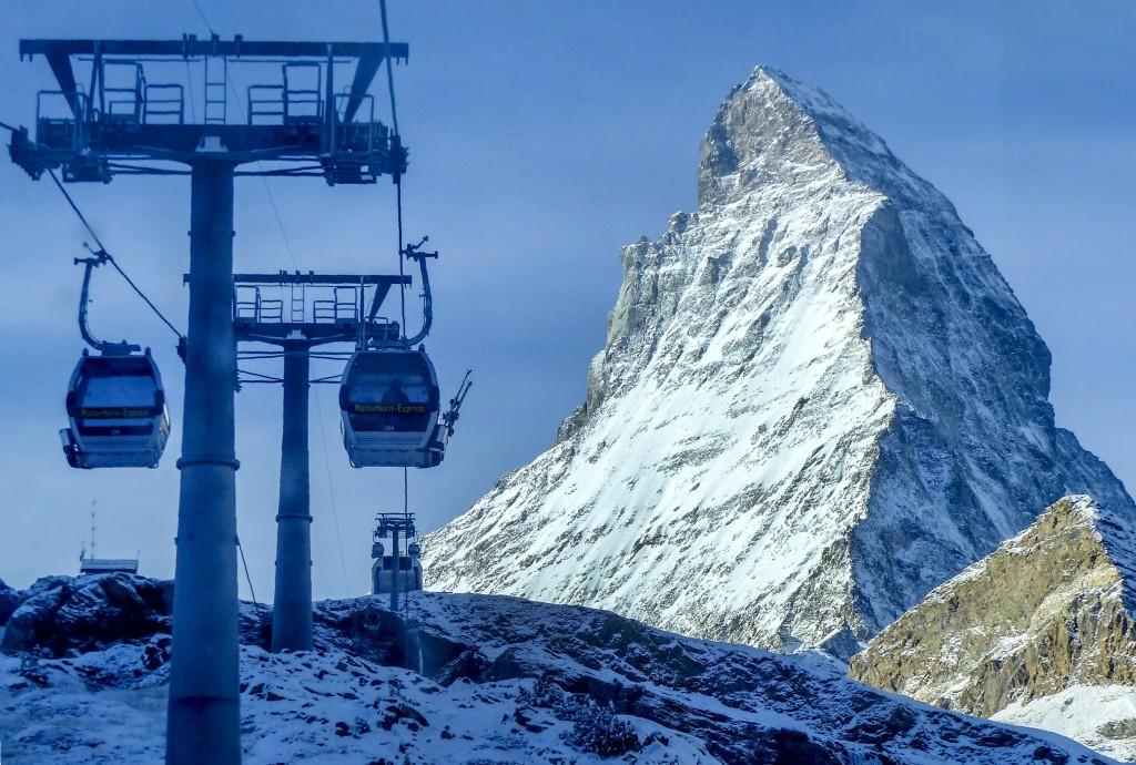 Gondolas go up next to the Matterhorn in Zermatt, Switzerland on Dec. 3, 2020.