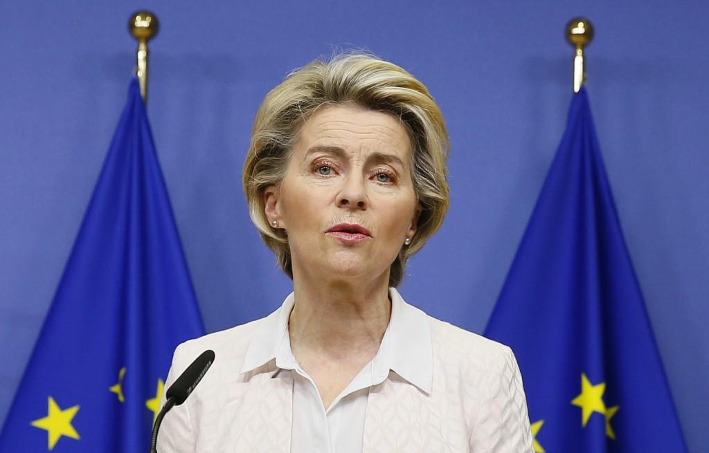 European Commission President Ursula von der Leyen makes a statement on camera regarding Brexit negotiations, after a phone call with British Prime Mi...