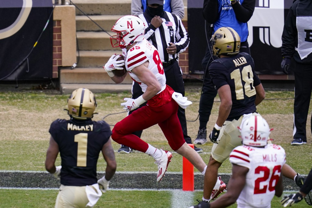 Nebraska wide receiver Wyatt Liewer (85) runs in for a touchdown against Purdue during the second quarter of an NCAA college football game in West Laf...